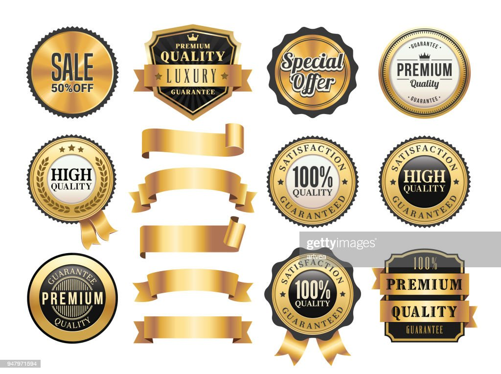 Gold Badges and Ribbons Set : stock illustration