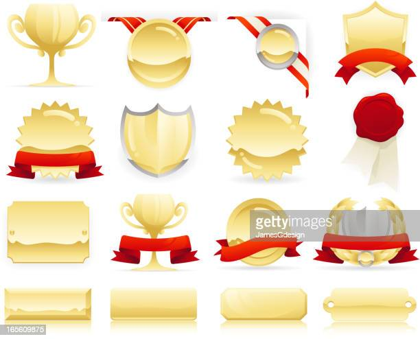 gold badges, seals and scrolls - award plaque stock illustrations, clip art, cartoons, & icons