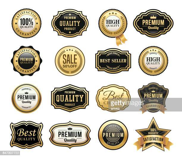 gold badges set - luxury stock illustrations