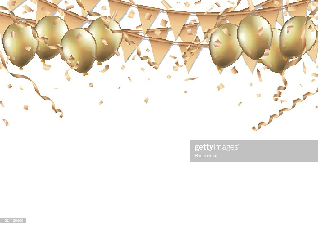 Gold balloons, confetti and streamers on white background