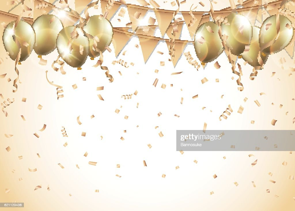 Gold balloons, confetti and streamers