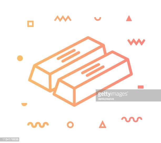 ゴールドバーラインスタイルのアイコンデザイン - 自然保護区点のイラスト素材/クリップアート素材/マンガ素材/アイコン素材