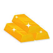 Gold bars that create sparkling light isolate on white background.