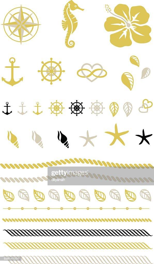 Gold Beach Tattoo, Rope, Rudder, Anchor, Seahorse
