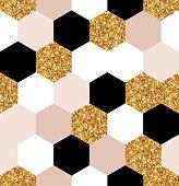 gold, black and white hexagon texture
