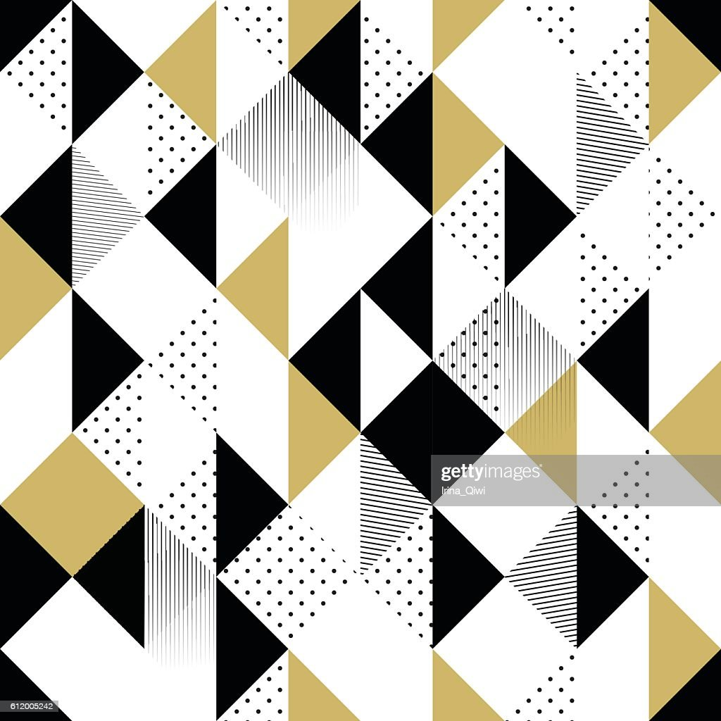 Gold black and white seamless triangle pattern.
