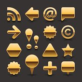 Gold blank button empty icon metalic chrome web internet shape