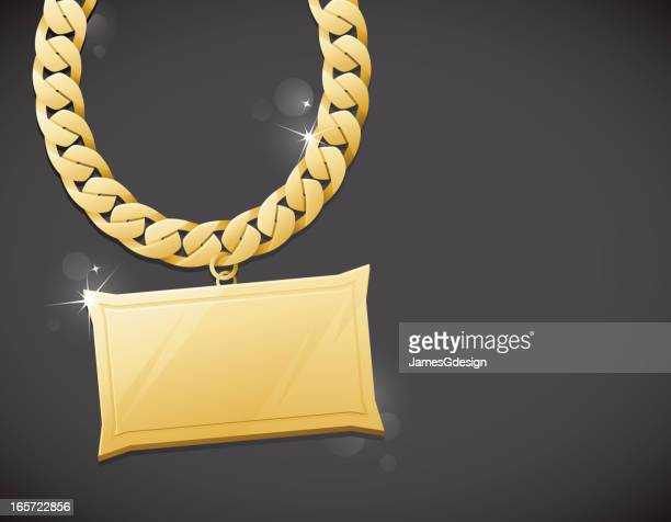 gold bling chain background - nameplate stock illustrations