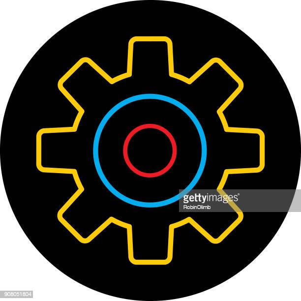 gold blue red gear icon - gearshift stock illustrations, clip art, cartoons, & icons
