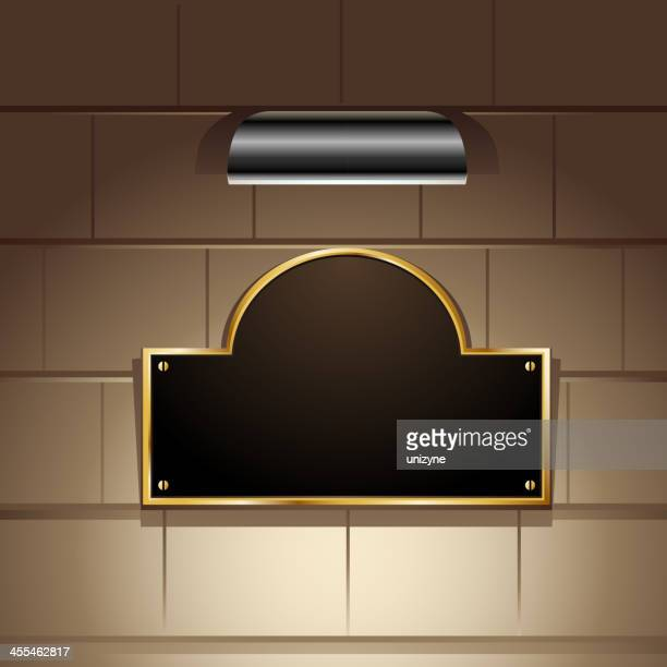 gold bordered display with focus light - memorial plaque stock illustrations, clip art, cartoons, & icons