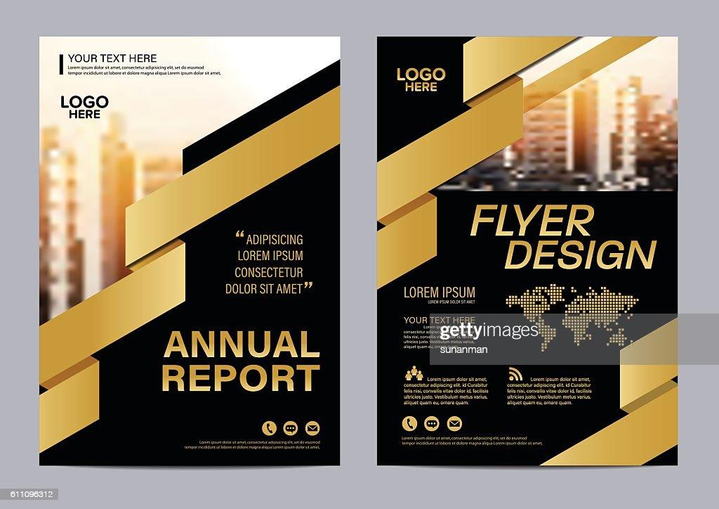 Gold Brochure Layout Flyer Design Template Vector Illustration