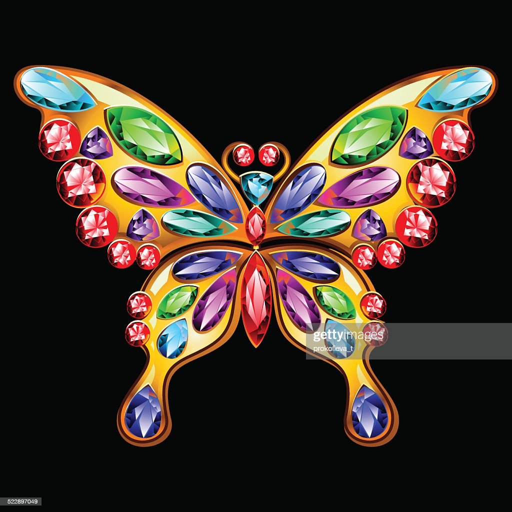 Gold brooch in the shape of a butterfly with gems.