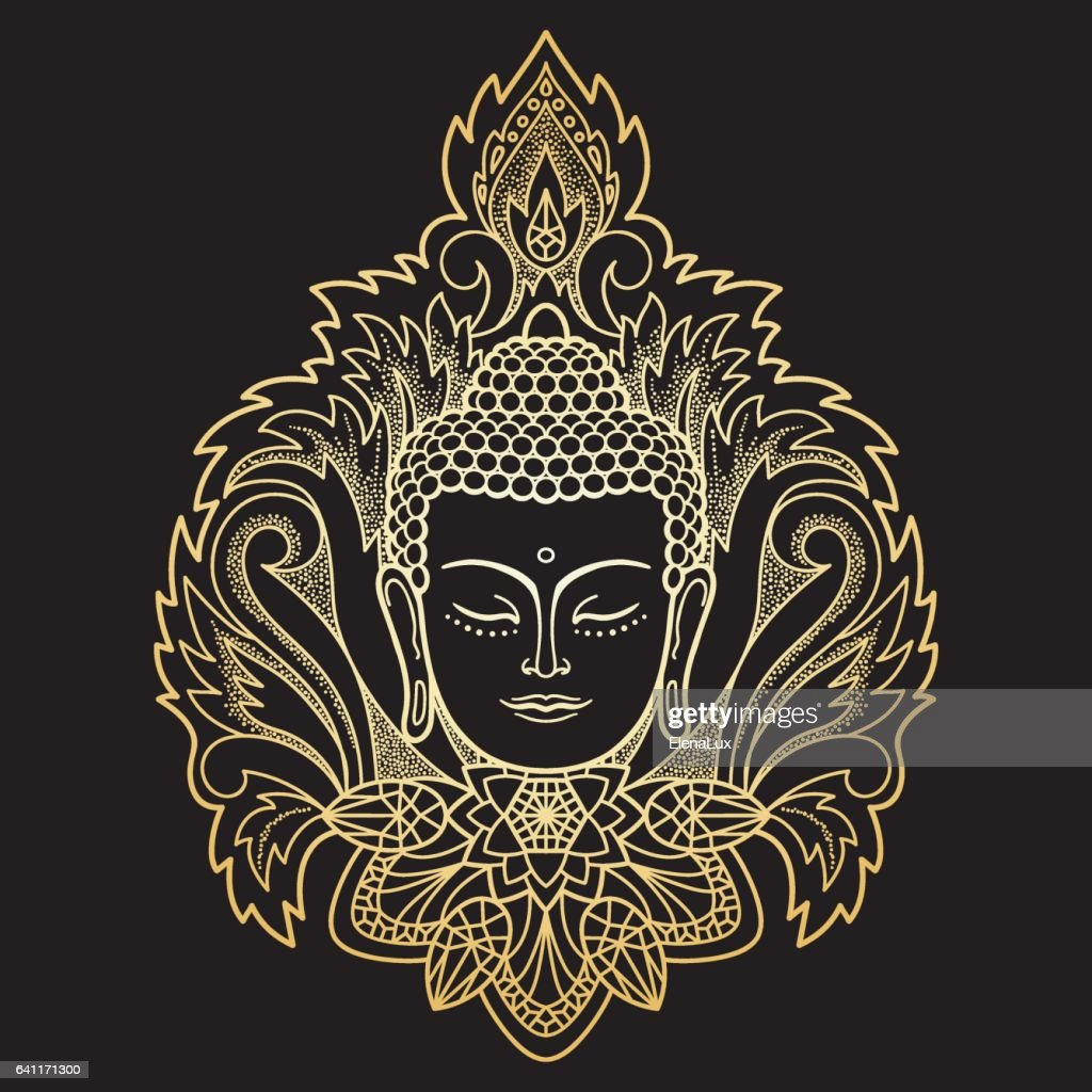 Gold Buddha Head on Floral Background