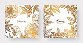 Gold cards templates for wedding stationery, with vintage style, or for many other design projects including print, greeting cards, stationery, branding and marketing material etc.