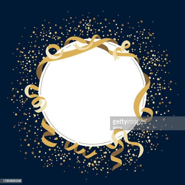 gold celebration blank round frame - celebration stock illustrations