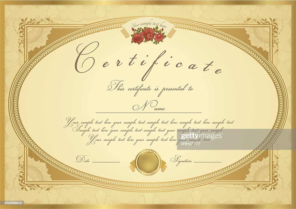 Gold Certificate / Diploma / Coupon (template). Award background (flower, Floral border)