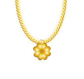 Gold Chain Jewelry whith Four-leaf Clover. Vector Illustration