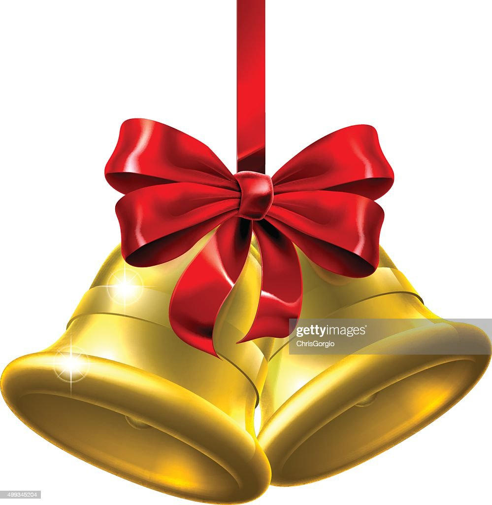 Gold Christmas Bells With Red Bow