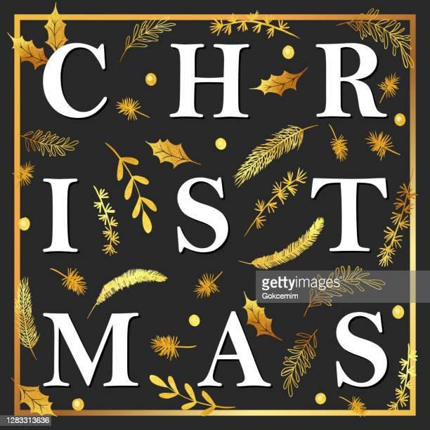 gold weihnachtskarte design vorlage mit winterpflanzen, tanne, fichte, kiefer zweige. - quadratisch komposition stock-grafiken, -clipart, -cartoons und -symbole