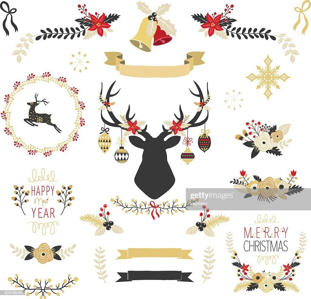 Gold Christmas Elements- Illustration
