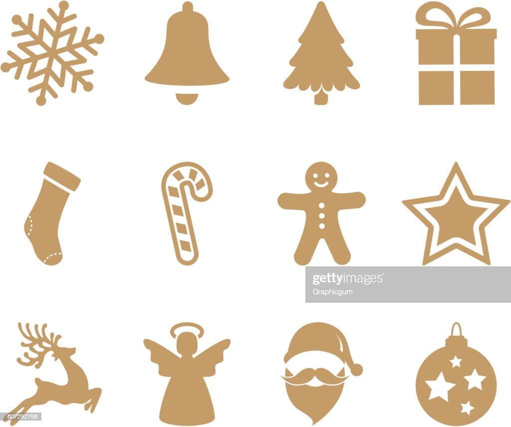 gold christmas icons set