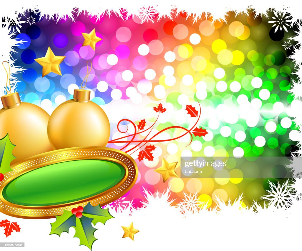 Gold christmas ornament on abstract rainbow background vector art