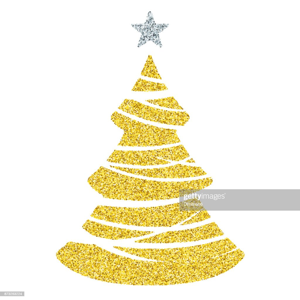 Gold Christmas Tree Icon Glitter Vector Christmas Ornament On White