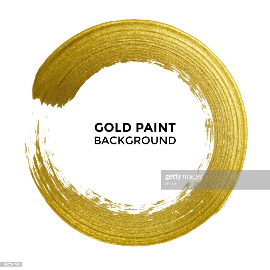 Gold circle glitter texture paint brush on vector white background