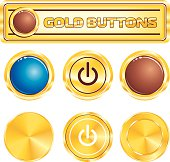 gold circle glossy buttons