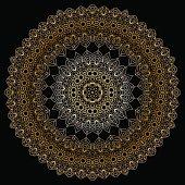 Gold circular pattern on black backgroud.