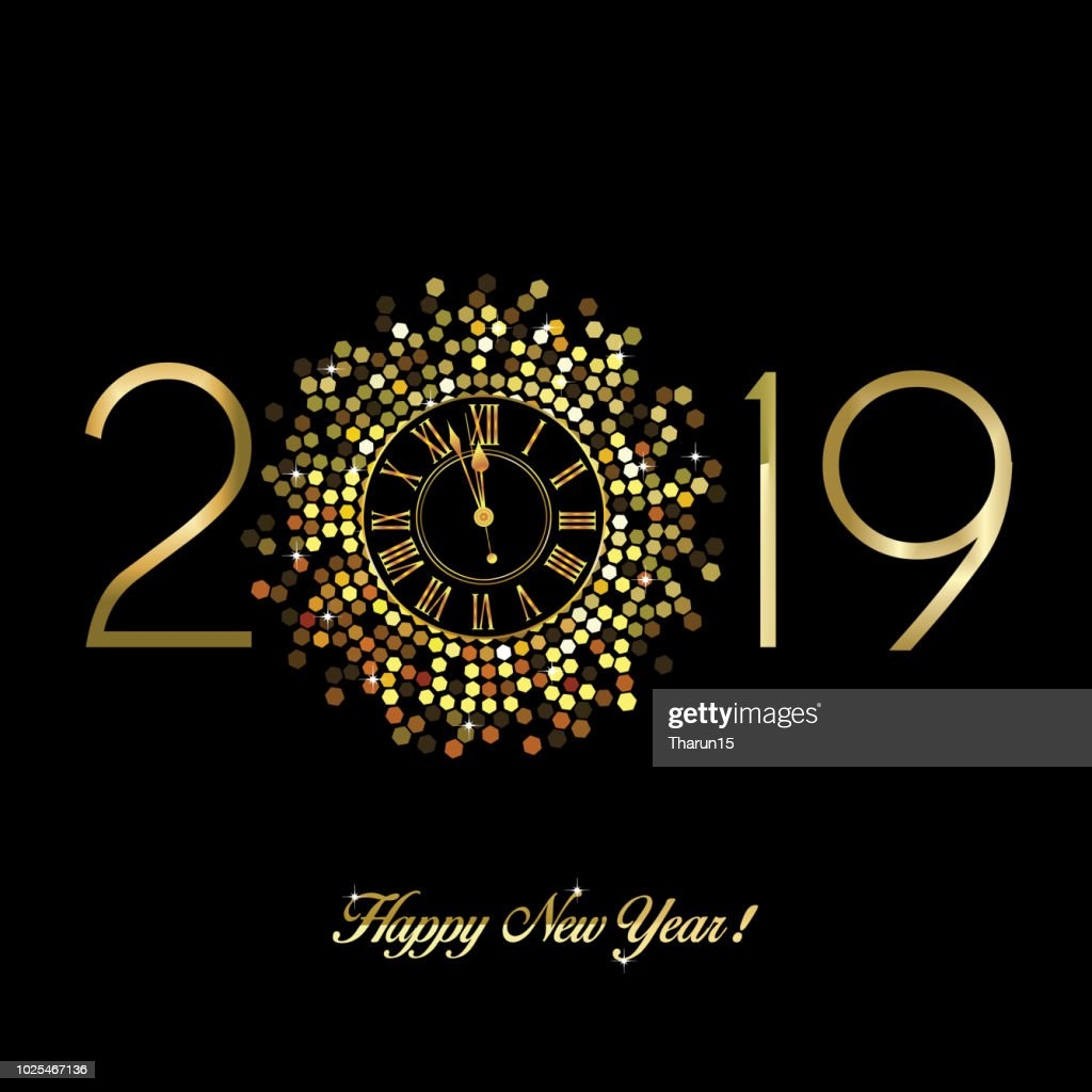 Gold Clock indicating countdown to 12 O' Clock 2019 New Year's Eve on a black background