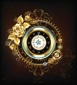 Gold clock with gold rose