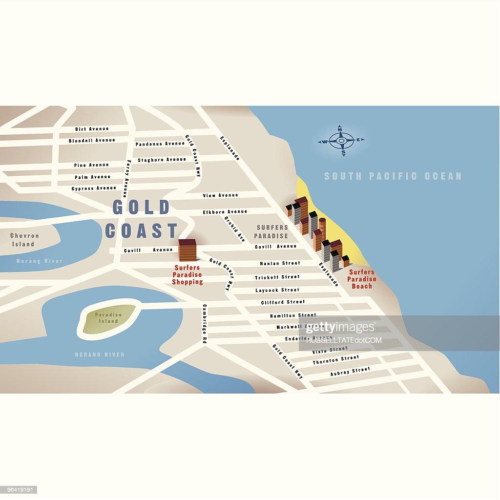 Gold Coast Qld Australia Map Vector Art Getty Images