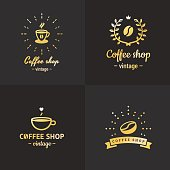 Gold coffee shop vintage hipster logo vector set. Part two.