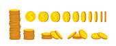Gold coin stack flat cartoon set financial vector