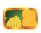 Gold coins and money case