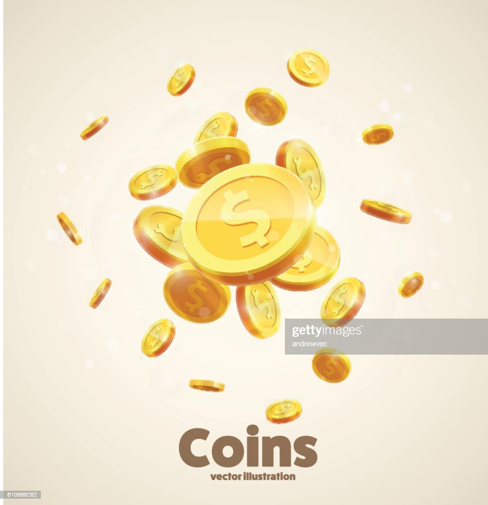 gold coins falling 3d realistic vector coin icon with shadows