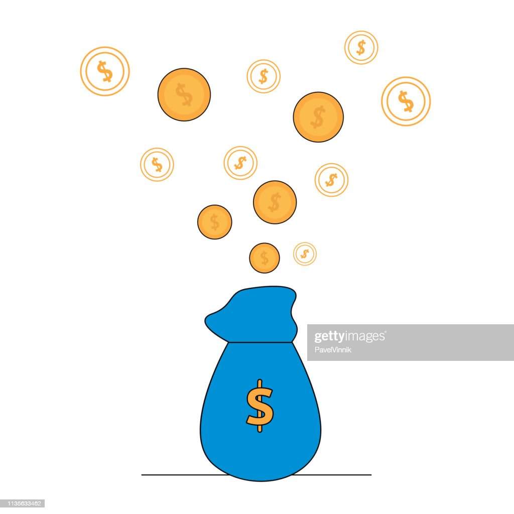 Gold Coins Flying Out of Blue Bag with Dollar Icon