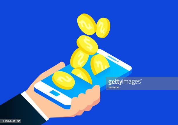 gold coins keep falling into the phone - human back stock illustrations