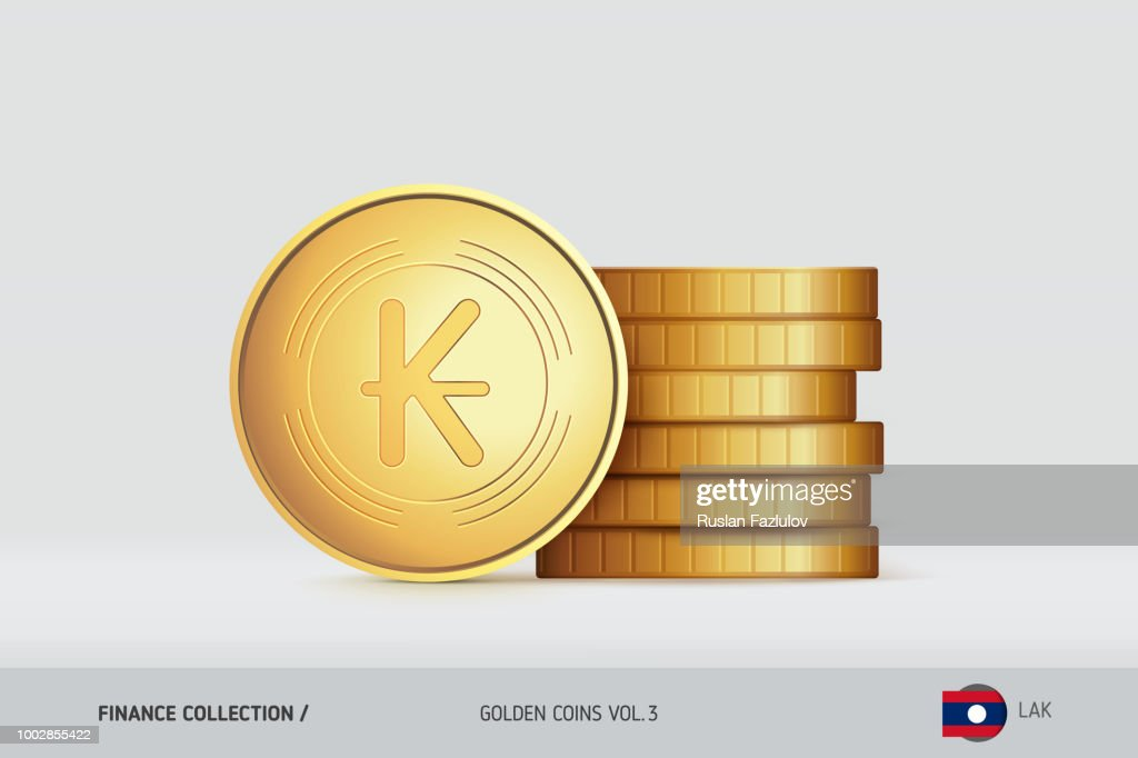 Gold coins. Realistic Lao Kip coin standing near of stacked coins. Finance concept for websites, web design, mobile app, infographics.