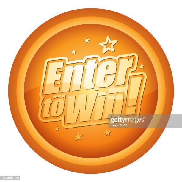 Gold Colored Enter to win Flat Design Icon