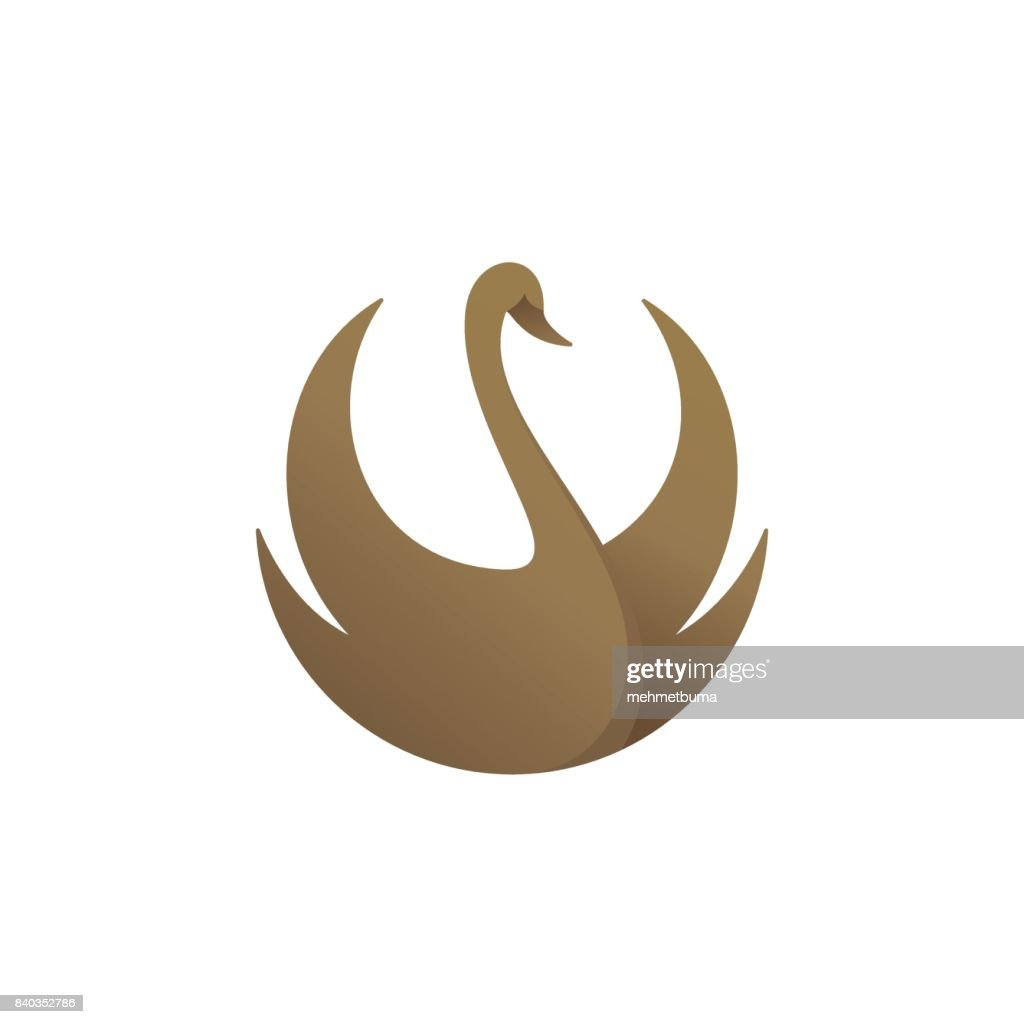 Gold colored swan, vector illustration