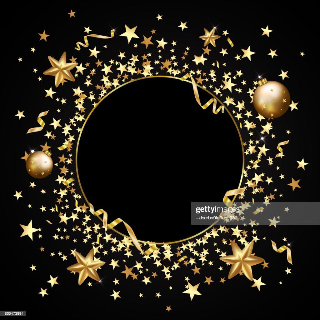 Gold Konfetti Auf Einem Schwarzen Hintergrund Sternschnuppen Glitter ...