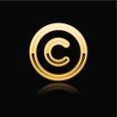 Gold copyright sign metal icon chrome pictogram web internet button