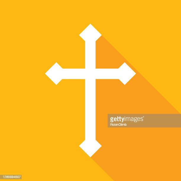 gold cross icon - protestantism stock illustrations