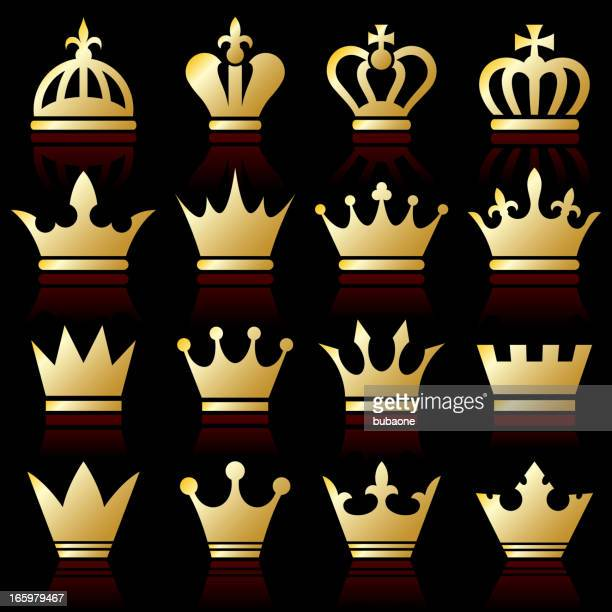 gold crown collection - queen royal person stock illustrations, clip art, cartoons, & icons
