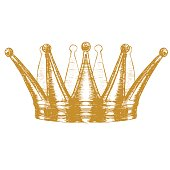 Gold Crown Hand Draw Sketch. Vector