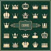 Gold crown icons set on damask.