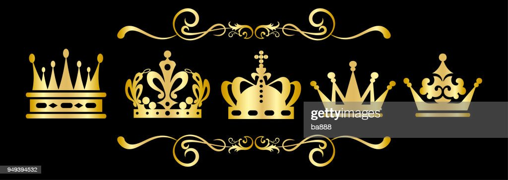Gold Crown on black background