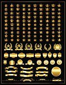 Gold crown set. Heraldry elements design